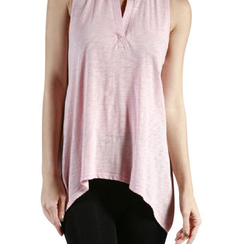 Trapeze Cotton Modal Sleeveless Slub Jersey Cotton Flowy Tank Top Shirt