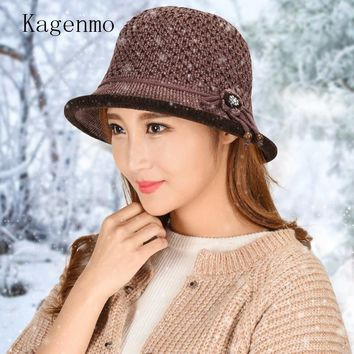 Kagenmo Mother's Bucket Hat Winter Outdoor Keep Warm Female Fishing Cap Knitting Wool Women Winter Bucket Cap Short Brim Topper