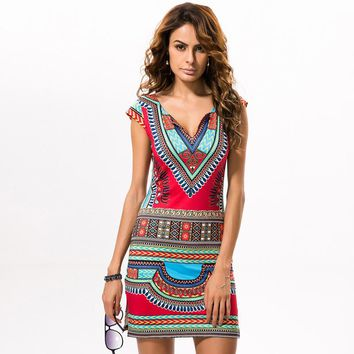 2018 Summer Dress New Womens Casual V-Neck Short Sleeve Sexy African National Dresses Print Mini Tunic Beach Bodycon Vestidos