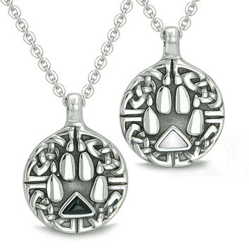 Love Couple Celtic Shield Wolf Paw Yin Yang Energy Simulated Onyx White Cats Eye Pendant Necklaces