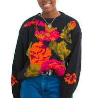 Vintage 80's You've Grown On Me Floral Sweater - One Size Fits Many
