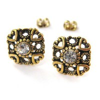 Small Square Stud Earrings in Bronze with Textured and Rhinestone Detail