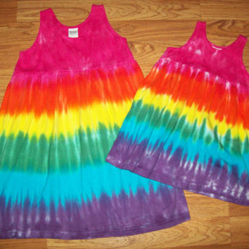 Girls Tie Dye Dress, Baby Tie Dye Dress, Tank Sleeve, Rainbow Crush