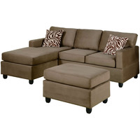 Reversible 3 Piece Sectional Sofa Set in Saddle Color Microfiber
