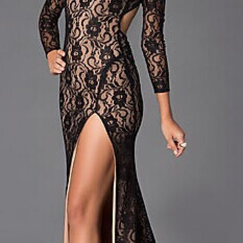 Lace Long Sleeve Bodycon Slit Fishtail Maxi Dress