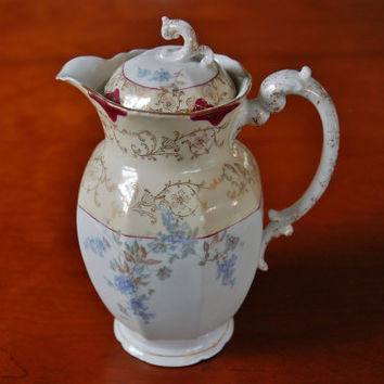 L Straus & Sons Carlsbad Austria Porcelain Chocolate Pot, Water Pitcher Coffee Tea Pot, Shabby Chic Vase Blue Floral Gold Trim Wedding Gift