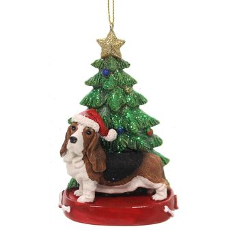 Holiday Ornaments DOG W/CHRISTMAS TREE Pet Puppy Best Friend C7615 Bassett