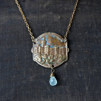 Vintage Czech Brass Tourist Stamping Hluboka Zamek and Pale Blue Chalcedony Drop Pendant Necklace
