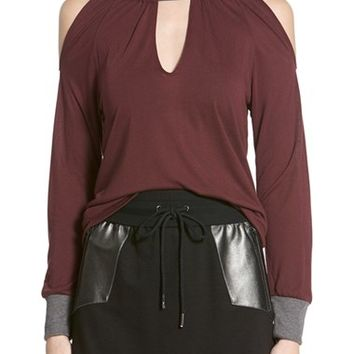 Women's Apres Ramy Brook 'Leah' Long Sleeve Cold Shoulder Top,