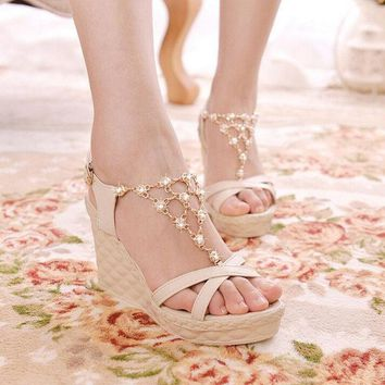 DCCKIX3 Hot crystal chain beads women wedge sandals with platform high heel sandals for lady = 1946814852