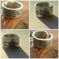 coexist ring made of  islam symbol, hamsa, om, david, peace and love, yin yang, ankh or christian cross