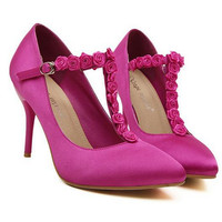 Rose Pointed Stiletto T Type High-Heel Shoes