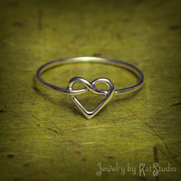 Knot Heart Ring  love knot ring  Infinity Heart  by Katstudio