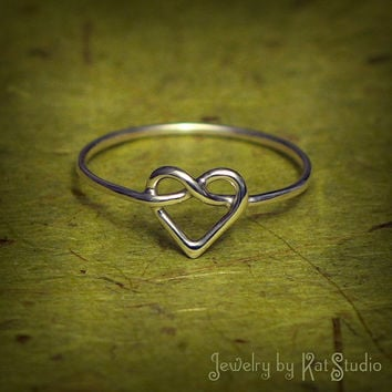 Knot Heart Ring - Infinity Heart - Sterling Silver 925 - Gift Box