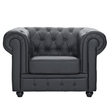 Modway Chesterfield Leather Tufted Accent Chair in Black