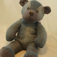 Memory Teddy Bear blue Jean Tshirt recycled by earthluv on Etsy