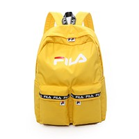FILA Newest Trending Women Men Canvas School Backpack Travel Bag Sapphire Yellow