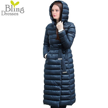 Snow Winter Down Jacket Women Coat Anorak 90 % White Duck Down with Belt Longer