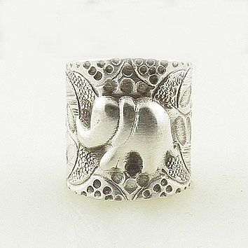 Elephant Sterling Silver Leaf Patterns Animal Wrap Ring