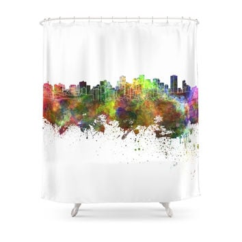 Society6 Edmonton Skyline In Watercolor Background Shower Curtain