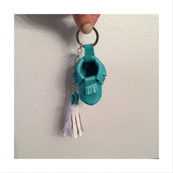 Leather tassel//moccasin keychain *leave color choices at checkout!**