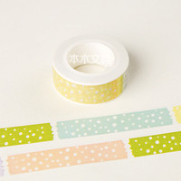 JG418 1.5CM Wide Multicolor Dots Washi Tape DIY Scrapbooking Sticker Label Masking Tape School Office Supply