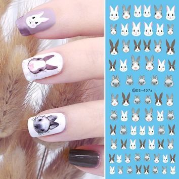 BORN PRETTY Rabbit Nail Water Decal Cute Bunny Transfer Sticker 12.8*5.5cm DIY Manicure Nail Decoration