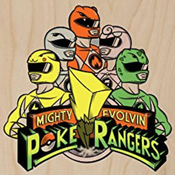 'Poke Rangers' TV Show Parody - Plywood Wood Print Poster Wall Art