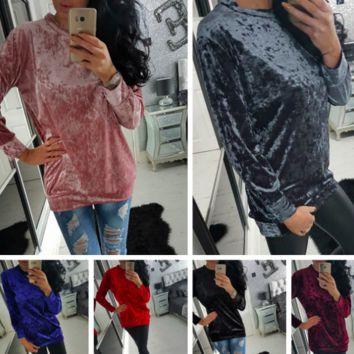 Women's Casual Long Sleeve Velvet Sweater Pullover