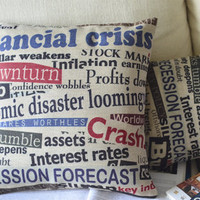 Newspaper Clipping Print Decorative Pillow [051] : Cozyhere