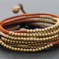 Earth Tone Beaded Wrap Bracelet by XtraVirgin on Etsy