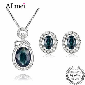 Almei Oval 925 Sterling Silver Sapphire Costume Jewelry Sets Women Pendant Necklace Earrings for Birthday Gift with A Box CT009