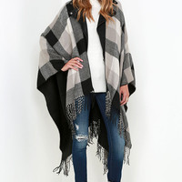 Glamorous Cozy Weather Grey Plaid Poncho
