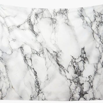 'WHITE MARBLE' Wall Tapestry by firashmae