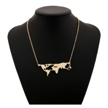 Fashion World Map Combination Pendant Necklace For Women