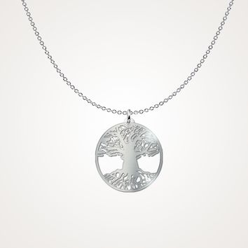 Double Tree of Life Sterling Silver Necklace