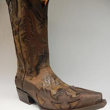 Safari Chocolate Caramel Crazy Horse Cowboy Boots