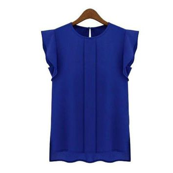 PEAPXN2 Womens Blouses Chiffon Clothing Summer Lady Blouse/Shirt S-XL Sale New 2017 Fashion Ruffle Short Sleeve 4 Colors Tops OL Blouse