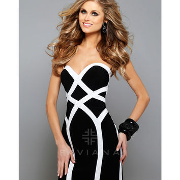 Preorder - Faviana 7656 Black & Ivory Two Tone Strapless Sweetheart Dress 2015 Homecoming Dresses