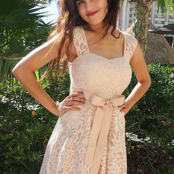 It's Now Or Never Beige Lace Skater Dress