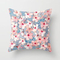 Shabby Chic Hibiscus Patchwork Pattern in Pink & Blue Throw Pillow by Micklyn