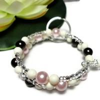 Keychain or Id Badge Bracelet with Pink Brown Ivory Swarovski Pearls