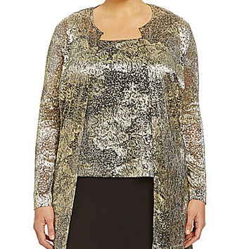 Alex Evenings Plus Printed Twinset - Black/Gold