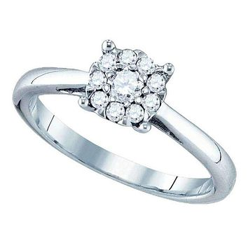 18kt White Gold Women's Round Diamond Cluster Bridal Wedding Engagement Ring 3/4 Cttw - FREE Shipping (USA/CAN)
