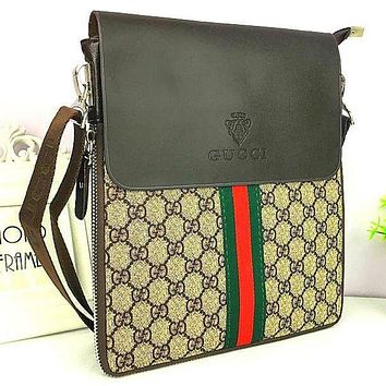 GUCCI Office Bag Leather Satchel Shoulder Bag Crossbody F
