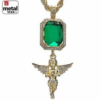 Jewelry Kay style 14k Gold Plated Double Green Ruby & Angel Pendant Chain Necklace MHC 316 G
