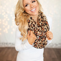 Beige with Brown Leopard Scarf