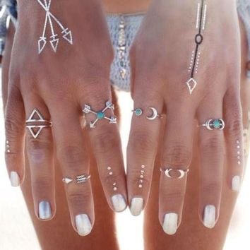 LMF9GW 6PCS/set Vintage Turkish Beach Punk Moon Arrow Ring Set Ethnic Carved Silver Plated Boho Midi Finger Ring Knuckle Charm