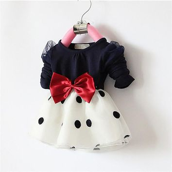 New Christmas Flower Girl Dresses Dot Big Bow Baby Party Dress for wedding vestidos infantis 0-2 years