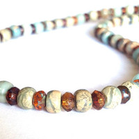 Bohemian Earthy Necklace - Natural Boho Beaded Necklace